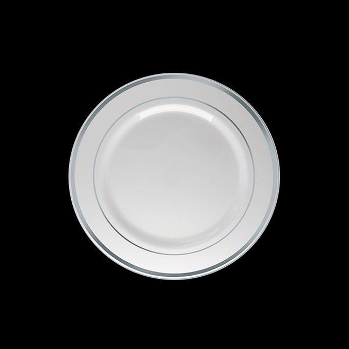 Prato Redondo Luxo Branco Borda Prata 06 unid Silver Plastic