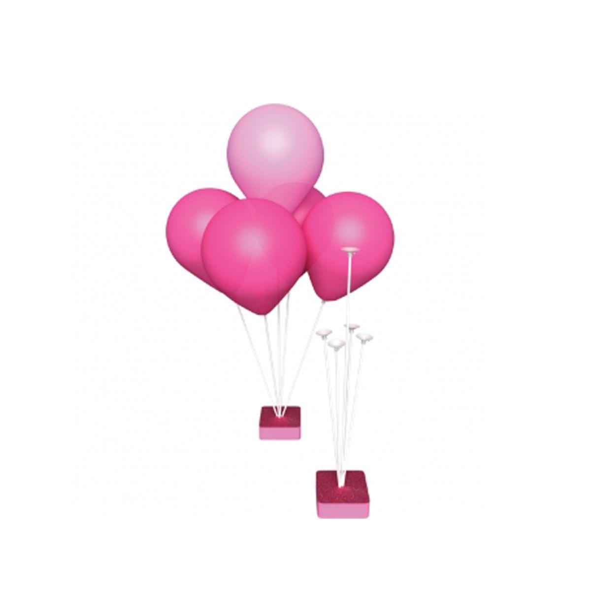 Suporte para Balões 5 Hastes Base Rosa 26cm Grintoy