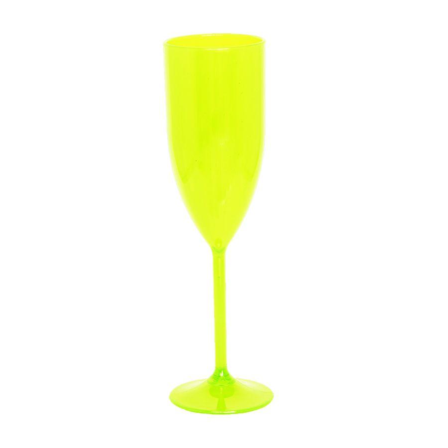 Taça 180ml Champanhe Amarelo Neon Translúcido