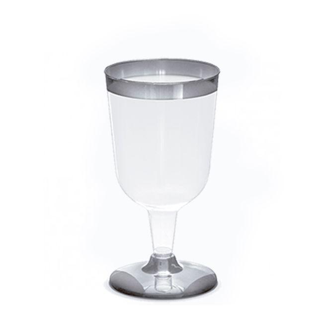 Taça 210ml 12 unid Vinho Borda Prata Silver Plastic