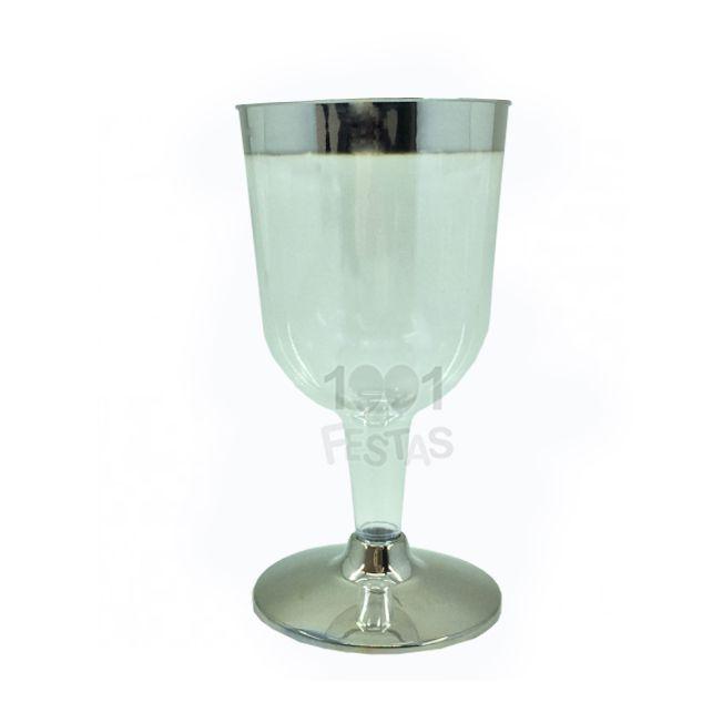 Taça Luxo 140ml 12 unid Vinho Borda Prata Popper