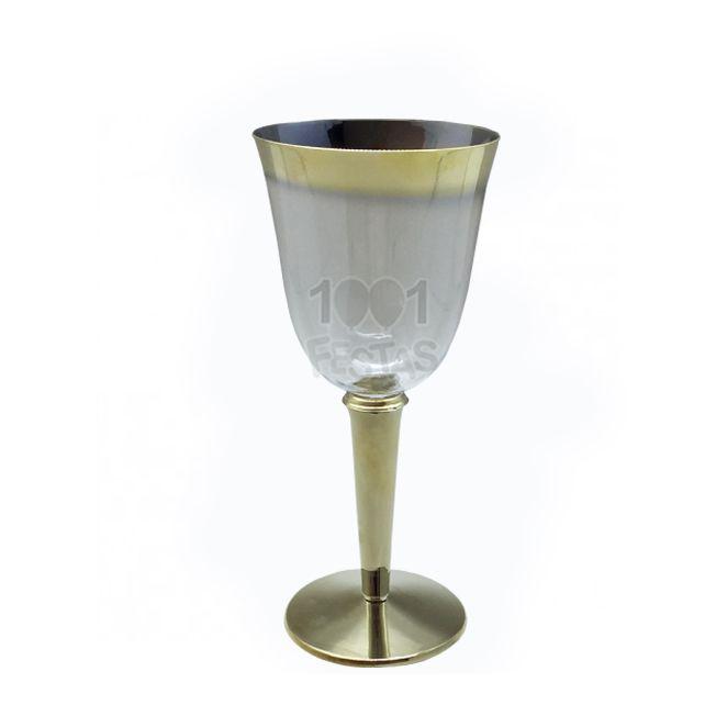 Taça Luxo 240ml 06 unid Vinho Borda Dourada Popper