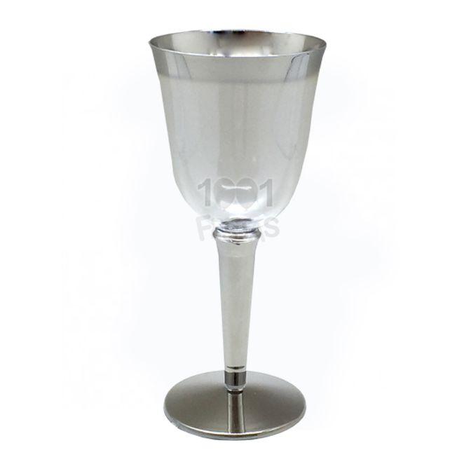 Taça Super Luxo 240ml 06 unid Vinho Borda Prata Popper