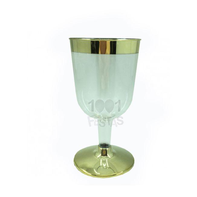Taça 162ml Vinho  06 unid Borda Dourada Silver Plastic