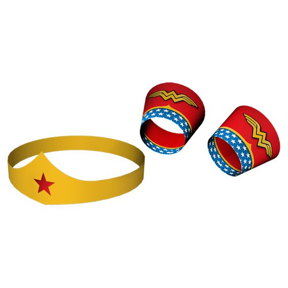 Tiara e Bracelete de Papel Mulher Maravilha Festcolor
