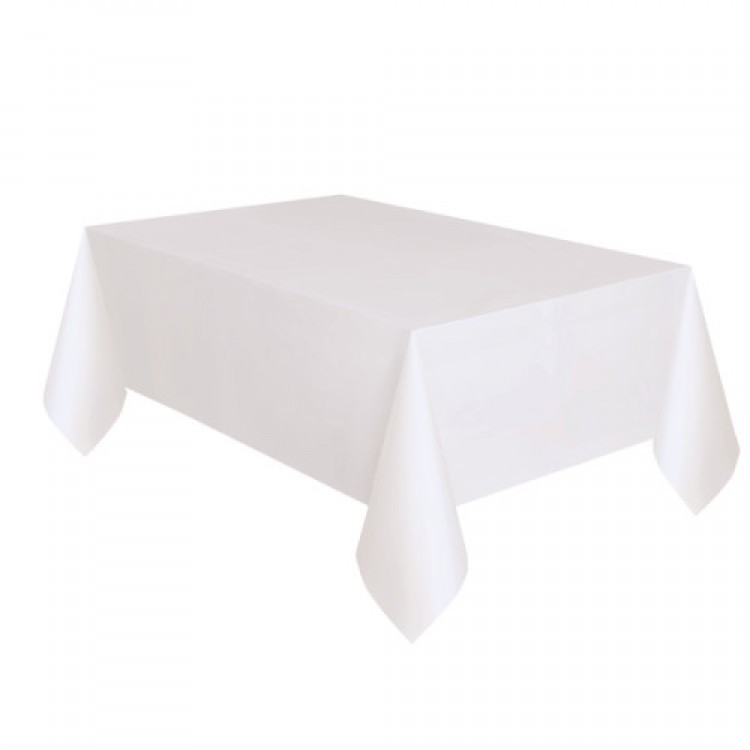 Toalha Plástica Branca 137cm x 274cm Silver Festas