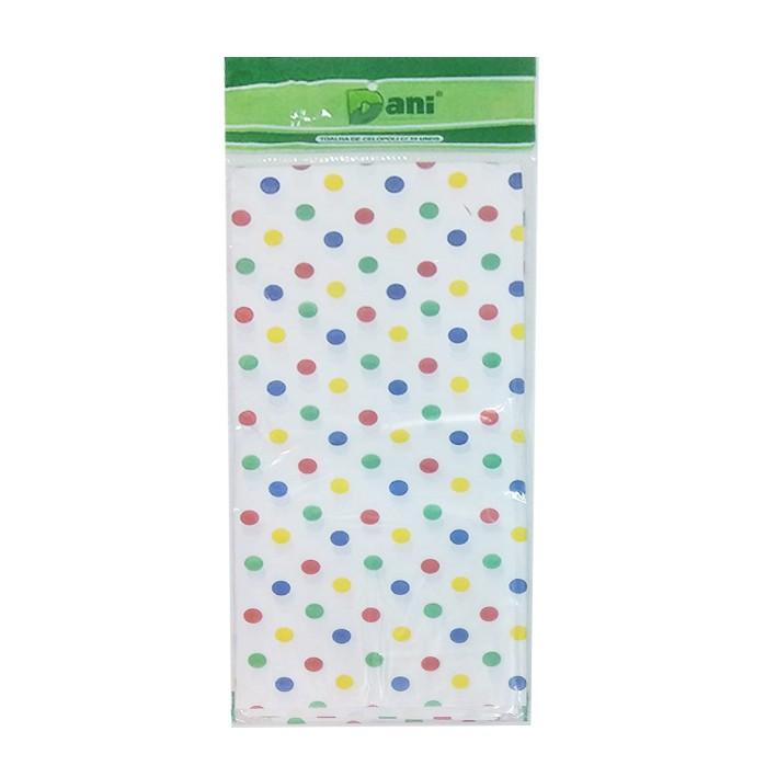 Toalha Plástica Branca Poá Colorido 70cm x 70cm C 10 unid Dani