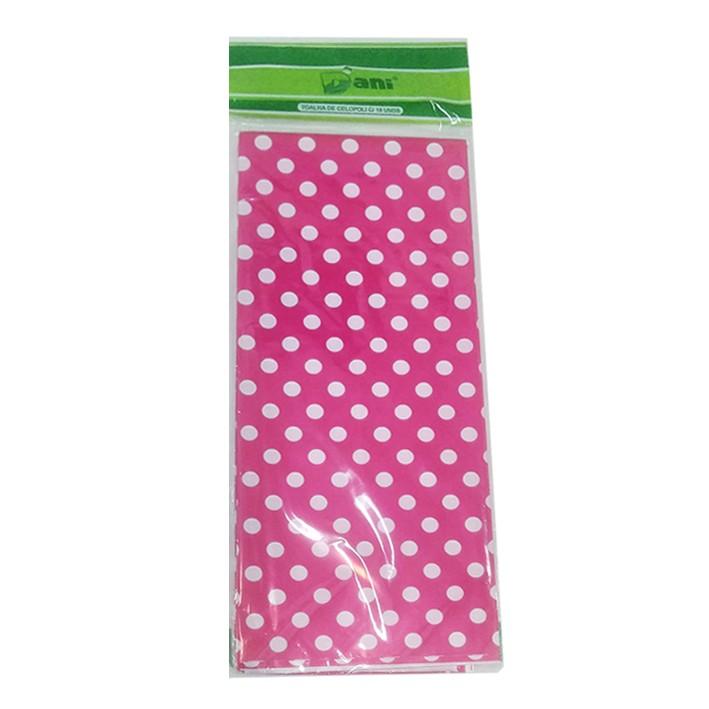 Toalha Plástica Pink Poá Branco 70cm x 70cm C 10 unid Dani