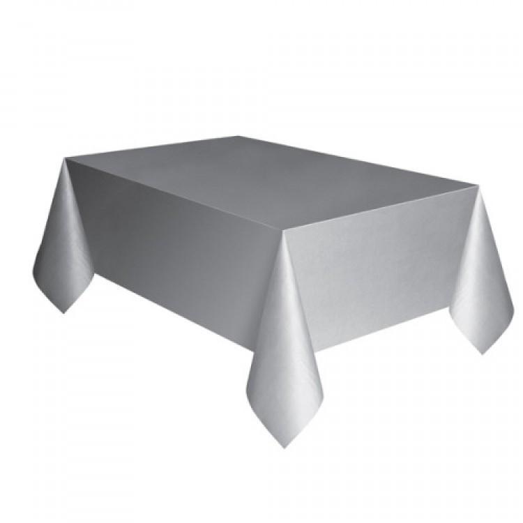 Toalha Plástica Prata 137cm x 274cm Silver Festas