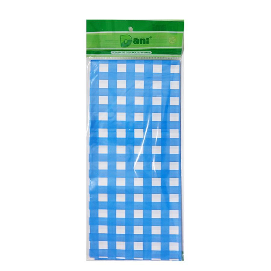Toalha Plástica Xadrez Azul 70cm x 70cm C 10 unid Dani