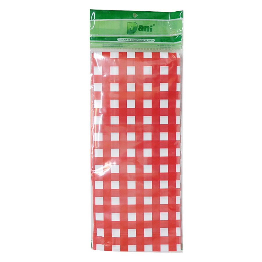 Toalha Plástica Xadrez Vermelho 70cm x 70cm C 10 unid Dani