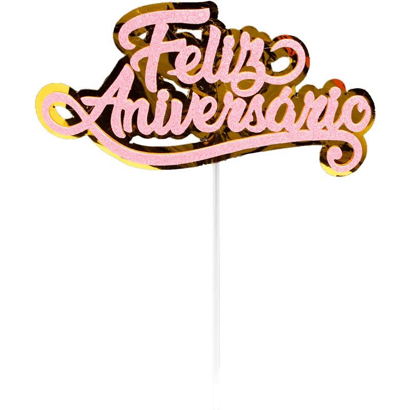 Topo de Bolo Impresso Feliz Aniversário Rosa Piffer
