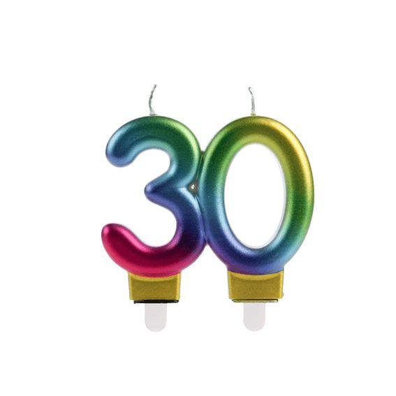 Vela 30 Anos Colorida Silver Festas