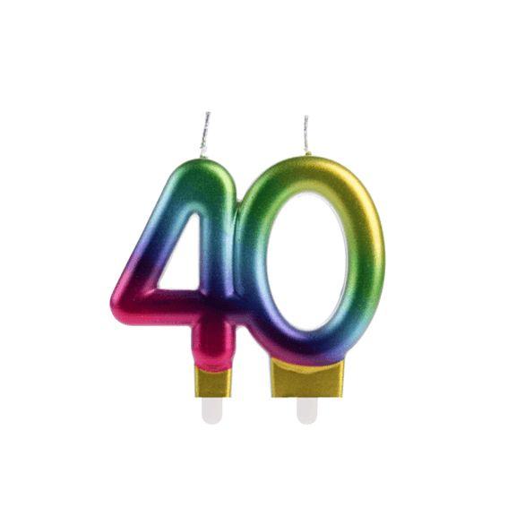 Vela 40 Anos Colorida Silver Festas