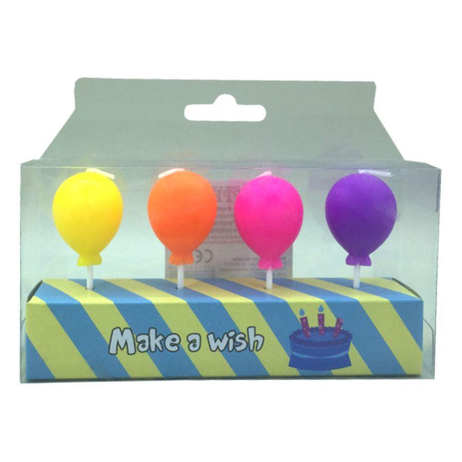 Vela Balão Colorido 4 unid Popper
