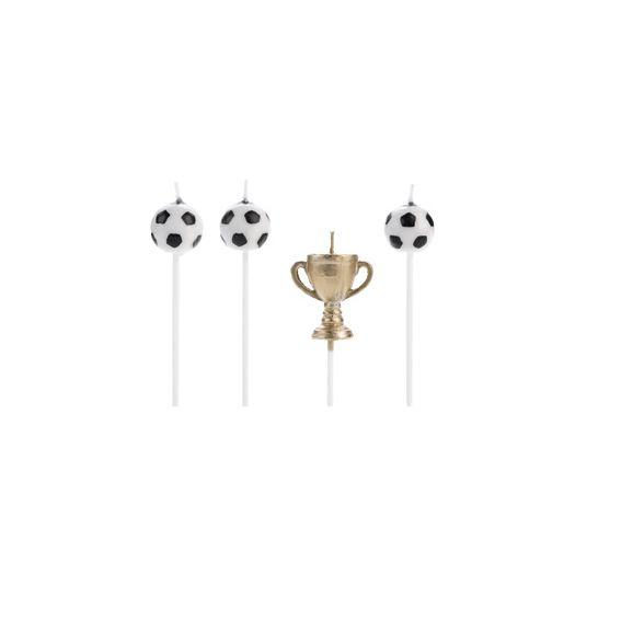 Vela Futebol Taça 4 unid Silver Festas
