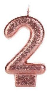 Vela Glitter 2 Rose Gold Silver Festas