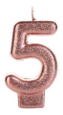 Vela Glitter 5 Rose Gold Silver Festas
