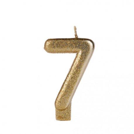 Vela Glitter 7 Dourada Silver Festas