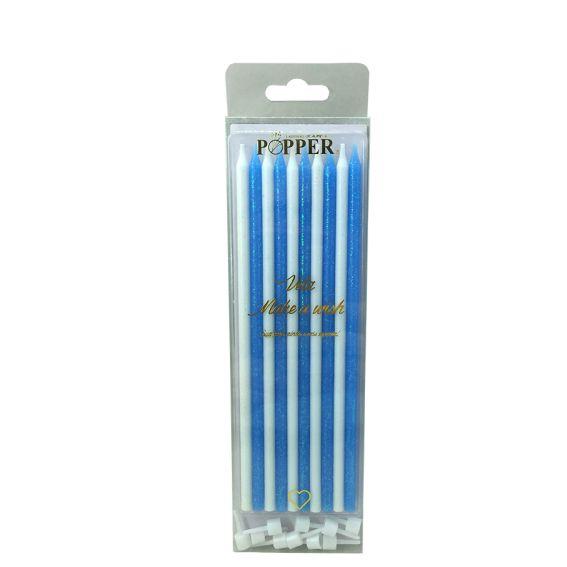 Vela Glitter Azul/Branco  C 10 unid Popper