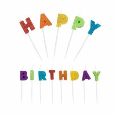 Vela Happy Birthday Colorido 13 unid  Silver Festas