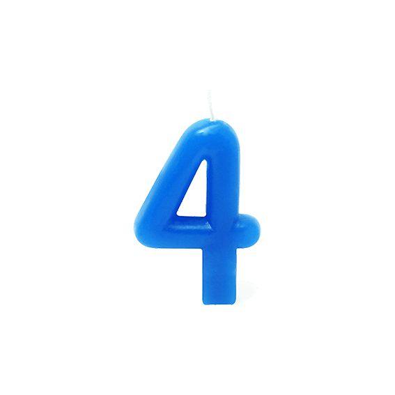 Vela Número 4 Azul silver Festas