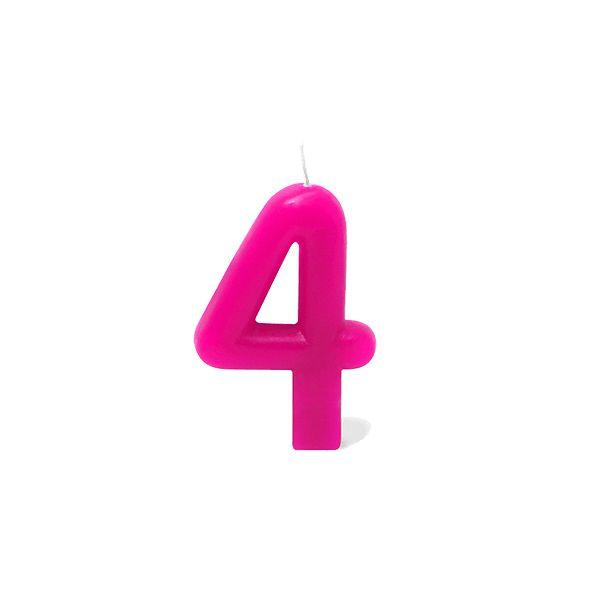 Vela Número 4 Rosa Silver Festas