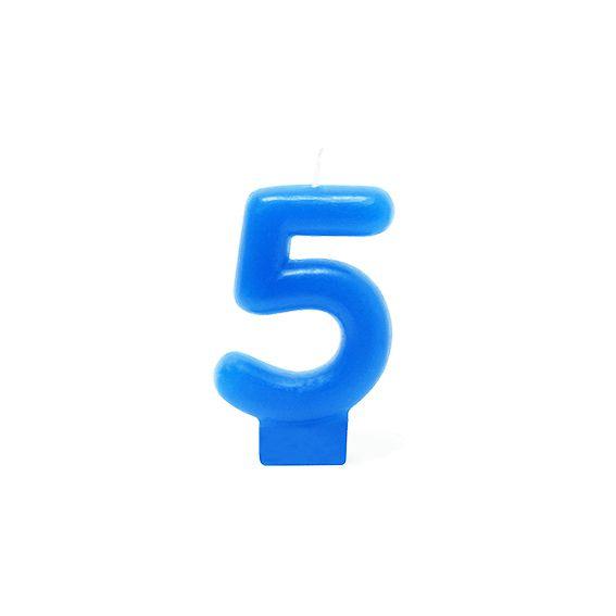 Vela Número 5 Azul silver Festas