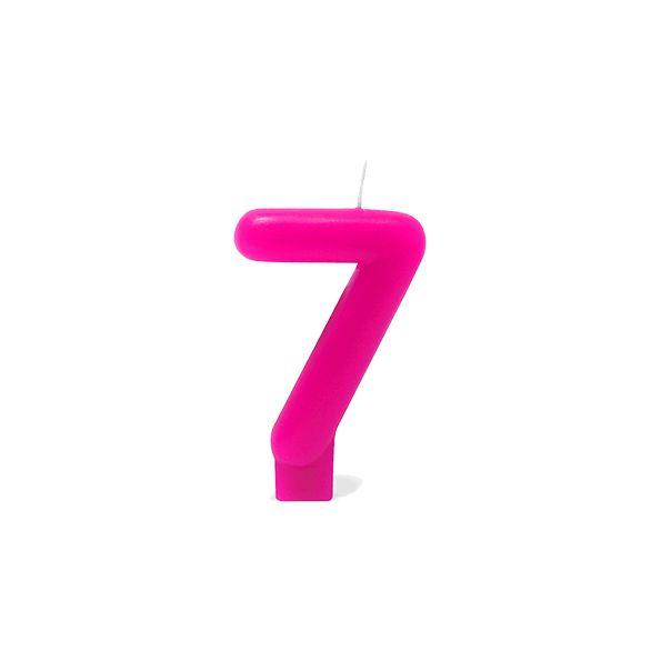 Vela Número 7 Rosa Silver Festas