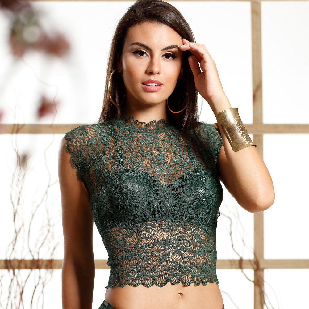 Cropped em renda Shine Lace