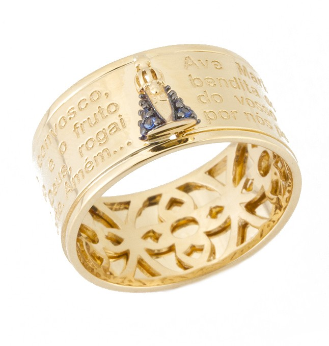 ANEL EM OURO 18K AVE MARIA  - cod  30009984