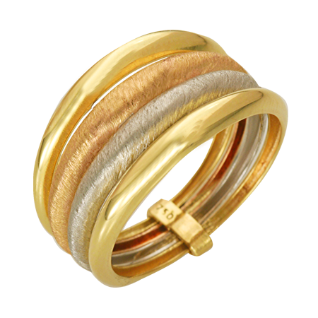 ANEL EM OURO 18K TRICOLOR - cod  30023103