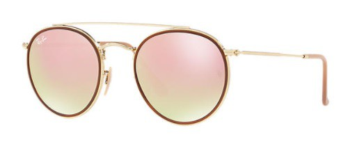 ÓCULOS DE SOL RAY-BAN FEMININO ROUND DOUBLE BRIDGE RB3647N 001/7O51 - cod interno 011004549