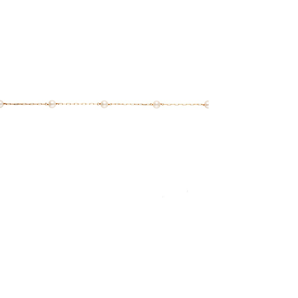 PULSEIRA PÉROLA 4MM C/ 5 PÉROLAS INFANTIL EM OURO 18K - Cod 30011291