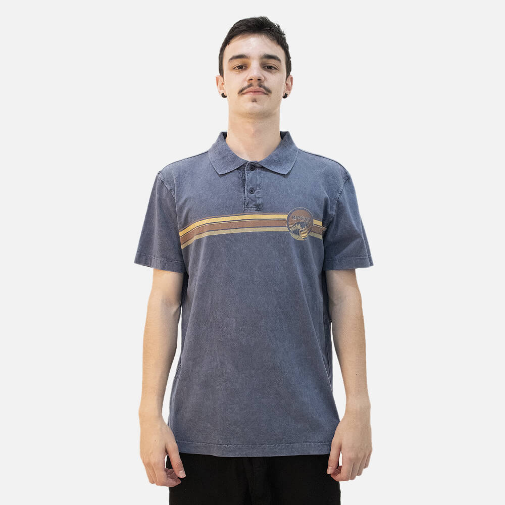 Camiseta Polo Mc Rip Curl Wave Panel Denim