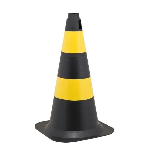 Cone de Sinalização Polietileno 50cm Preto e Amarelo Vonder