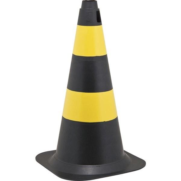 Cone de Sinalização Polietileno 75cm Preto e Amarelo Vonder