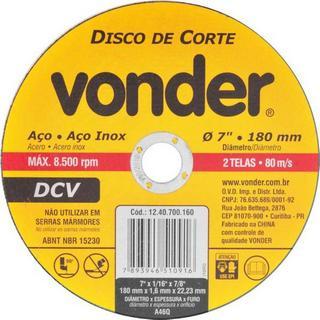 Disco Corte DCV 180,0x1,6x22,23mm Vonder