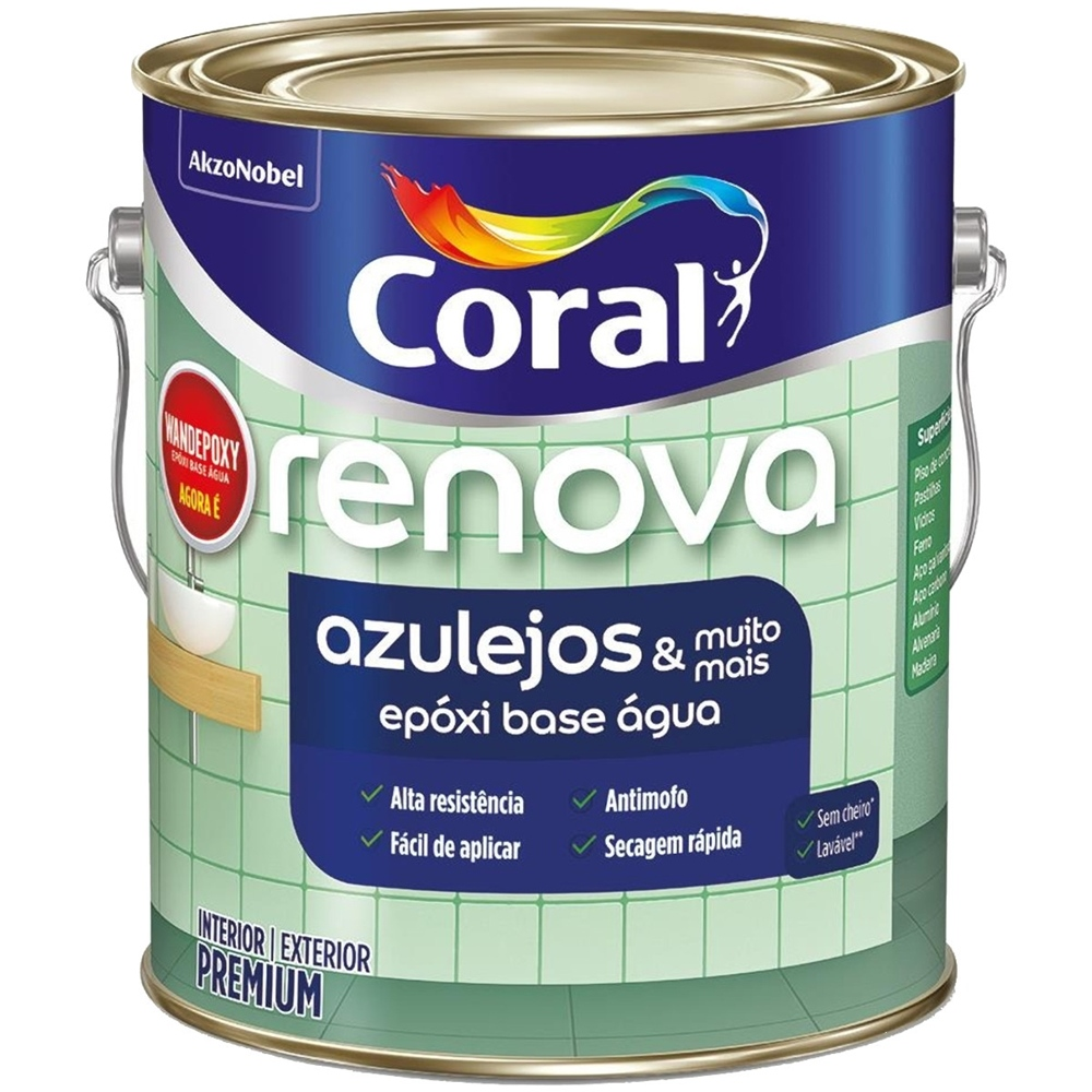 Esmalte Renova Azulejos Epóxi Acetinado Base Água 3,6 Litros Branco Coral