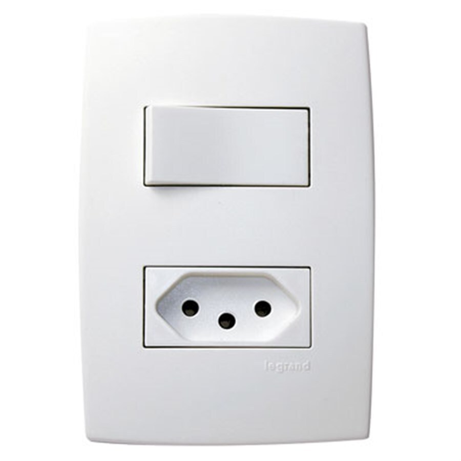 Interruptor 1 Paralelo + Tomada 2P+T Padrão Brasileiro 10A 615078 Pial