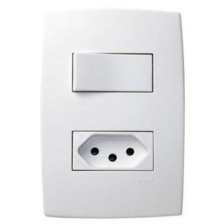Interruptor 1 Simples + Tomada 2P+T Padrão Brasileiro 10A 615074 4x2 Pial