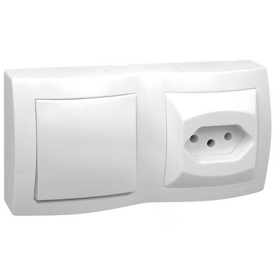 Interruptor 1 Simples + Tomada 2P+T Padrão Brasileiro Sistema X 10A 675063 Pial