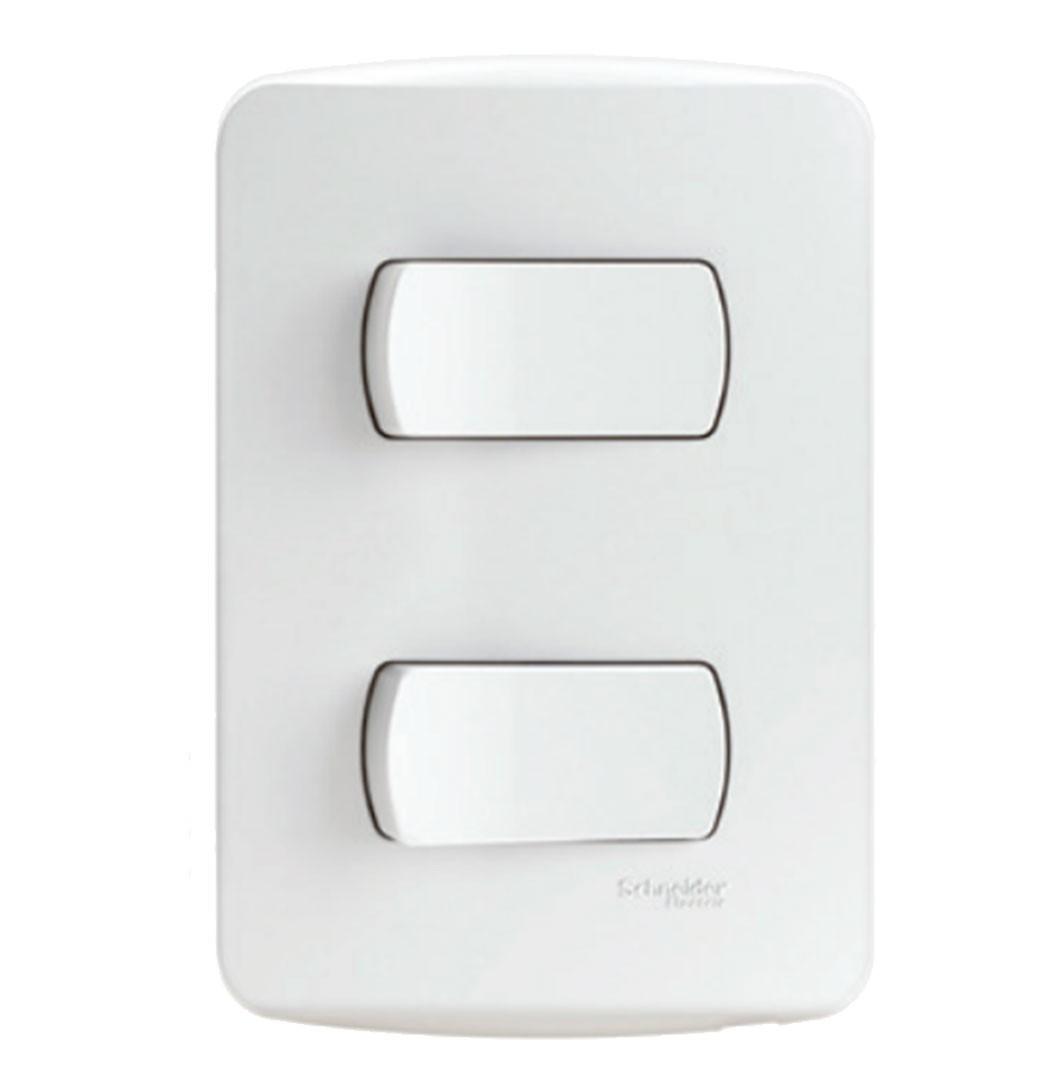 Interruptor 2 Simples 10A 250V S3B62110 Branco Schneider