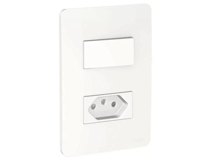 Interruptor 2 Simples + Tomada Padrão Brasileiro 2P+T 10A Decor BR044721 Branco Schneider