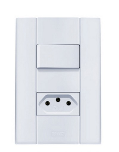Interruptor Simples 10A + Tomada 10A Mares 2515 Romazi