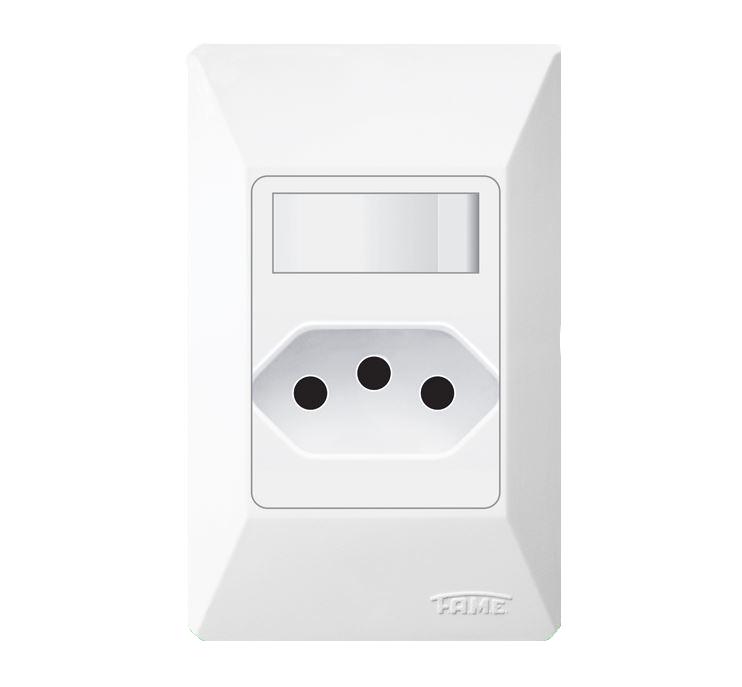 Interruptor Simples + Tomada 2P+T 10A 07314094 Branco Fame