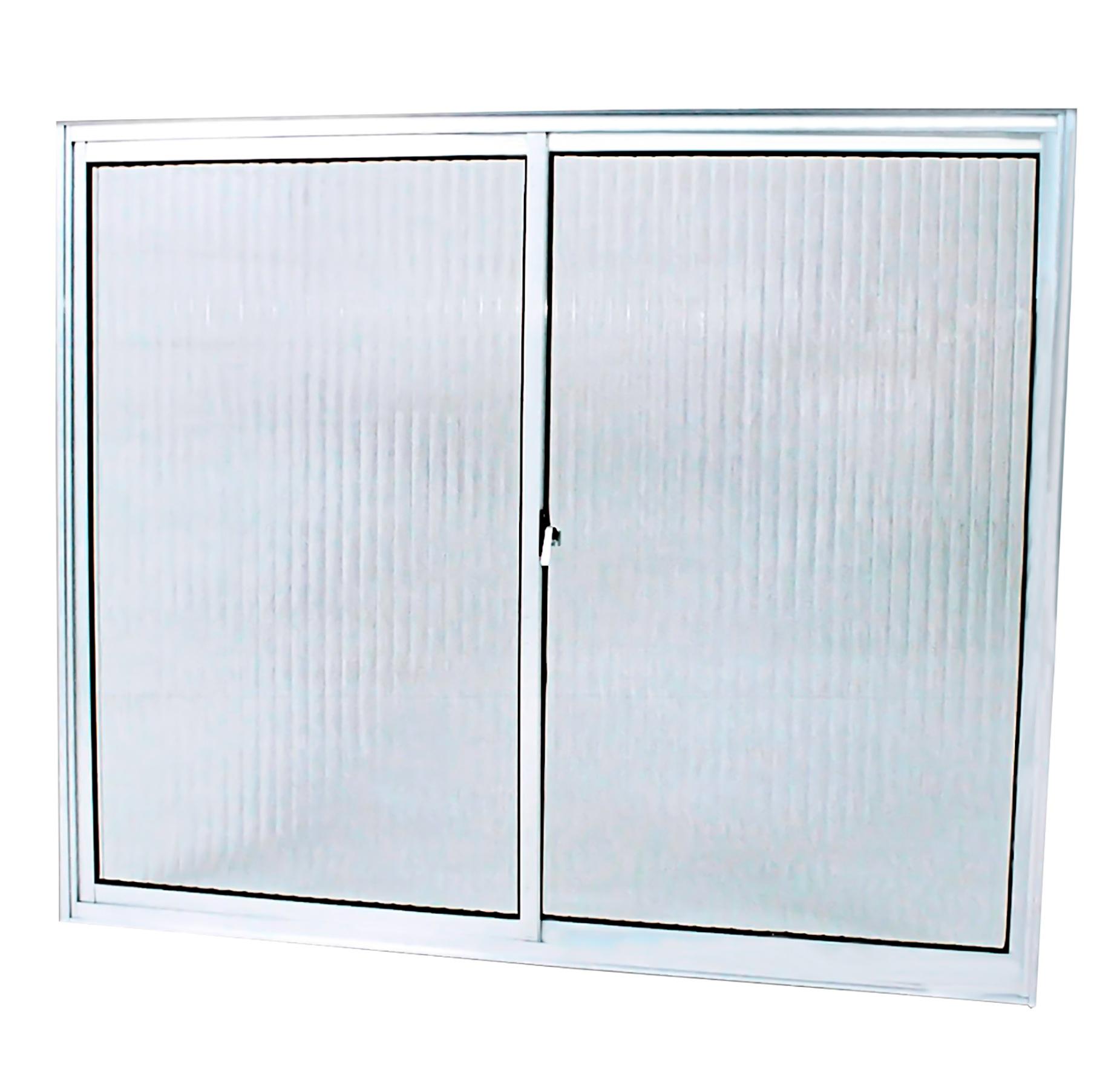 Janela 2 Folhas Móveis Vidro Canelado Slim 100x100cm Lider