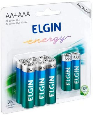 Kit Econômico Pilhas Alcalinas 6AA+2AAA Elgin