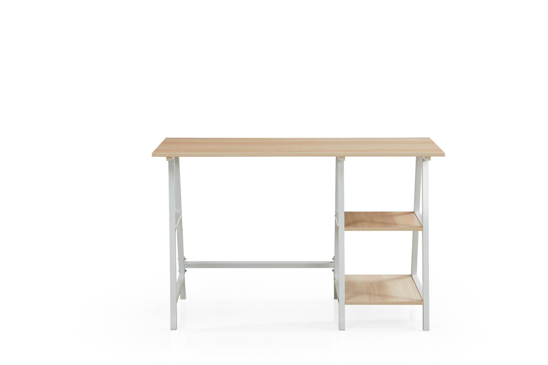 Mesa Escrivaninha 120cm 2 Prateleiras Base Metal Branco Casa OK