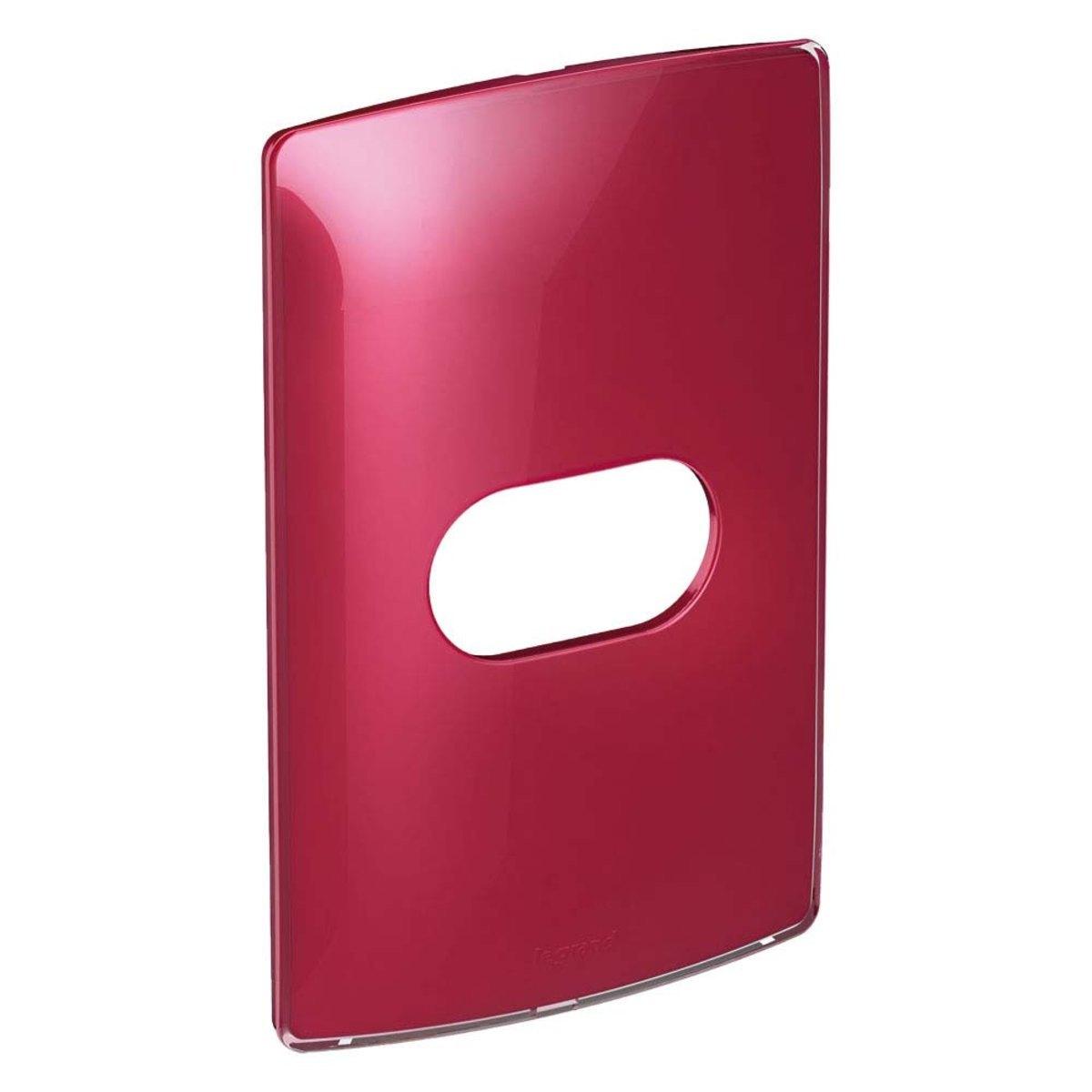 Placa 2 Postos Separados Nereya Cherry Gloss 4x2 Vermelho Pial